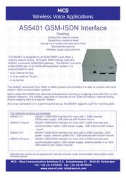 MCS AS5401/2V/sync P108559 Leaflet