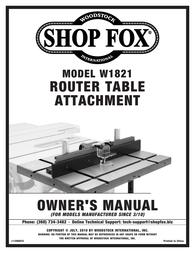 Woodstock SHOP FOX W1821 User Manual