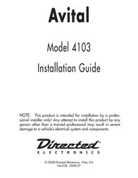 Avital 4103 User Manual