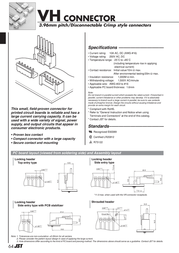 Jst B6P-VH (LF)(SN) B6P-VH (LF)(SN) Multi-pin Connector, Straight Series VH Grid pitch: 3.96 mm Number of pins: 6 Nomina B6P-VH (LF)(SN) Data Sheet