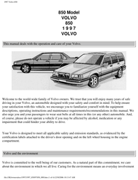 Volvo 1997 850 User Manual