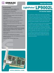 Emulex Single Channel 2Gb/s Fibre Channel PCI HBA LP9002L-E LP9002L-E Leaflet