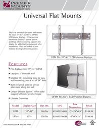 "Premier Mounts Universal Flat Wall Mount - fits 37""-61"" (UFM) UFM Leaflet"