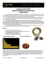 GoldX PlusSeries® Analog Audio Cable 12ft GXAV-LR-12 Leaflet