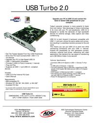 ADS Tech USBX-2000 USB Turbo 2.0 PCI USBX-2000 Leaflet