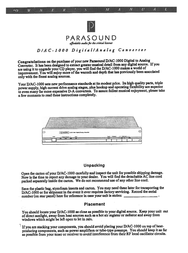 Parasound D/AC-1000 User Manual