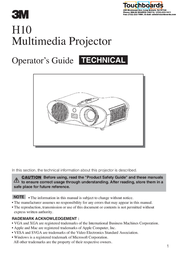 Scotch-Brite Multimedia Projector H10 User Manual