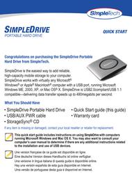 SimpleTech fv-u35 Quick Setup Guide