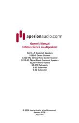 Aperion Audio Intimus Series User Manual