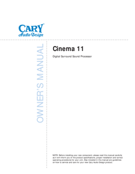 Cary Audio Design Cinema 11 User Manual