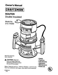Craftsman 315.175 User Manual