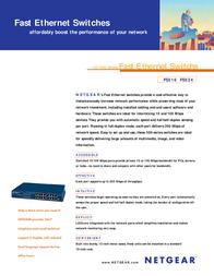 Netgear FS516 16x 10/100 Mbps RJ45 FS516GE Leaflet