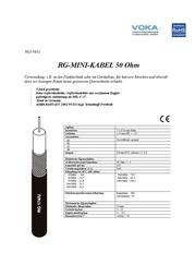 Voka Kabelwerk 304660-87, Coaxial Cable, Black Sheath 304660-87 Data Sheet
