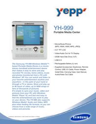 Samsung MP3-PLAYER YH-999 YH-999 Leaflet