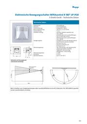 Kopp In-wall motion switch infraCONTROL 180° white White IP20 808413011 Data Sheet