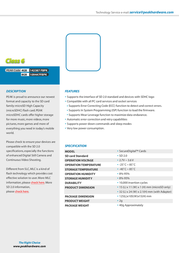 PEAK microSDHC Card Class 6 4GB 142387FBPK Leaflet