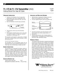 Williams Sound Transmitter T1-173 Leaflet