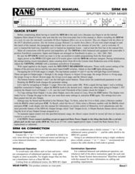 Rane SRM 66 User Manual