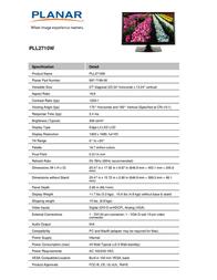 Planar PLL2710W 997-7199-00 Leaflet