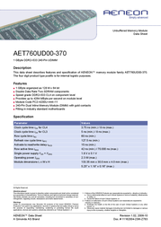 Infineon DDR2 1024MB PC533 CL4 128MX64 AET760UD00-370 Data Sheet