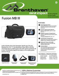 Brenthaven Fusion III MB 2410101 Leaflet