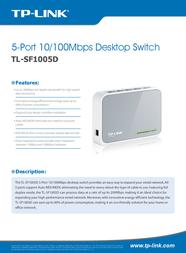 TP-LINK 5-Port 10/100Mbps Desktop Switch TL-SF1005D Data Sheet