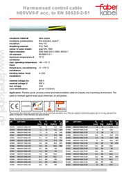 Faber Kabel 031496, Control Data Cable, , Grey Sheath 031496 Data Sheet