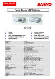 Sanyo Home Cinema LCD Projector PLV-Z4 PLV-Z43YR Leaflet