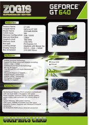 Zogis GeForce GT 640 2GB ZOGT640-2GD3H Leaflet