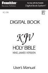 Franklin HOLY BIBLE KING JAMES VERSION IC-119 Manuel D'Utilisation