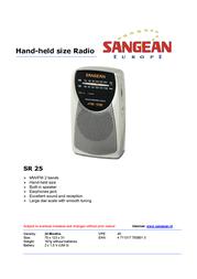 Sangean Hand-held Size Radio SR25 SR25 Leaflet