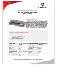 Targus Mini USB Business Card Scanner AWU04EU Leaflet