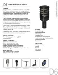 Audix D6 AUDIX D6 Leaflet