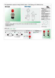 Sci Pushbutton 250 Vac 1.5 A 1 x Off/(On) momentary 1 pc(s) R13-24A2-05 BK Data Sheet