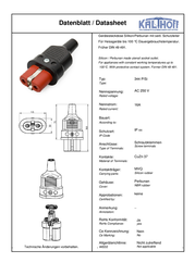 Kalthoff Hot wire connector Socket, straight Total number of pins: 2 + PE 16 A Black, Red 1 pc(s) 344002 Data Sheet