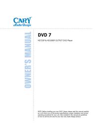 Cary Audio Design HD1080P User Manual