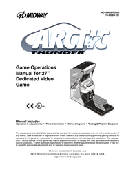 "Midway 27"" Dedicated Video Game Arctic Thunder User Manual"
