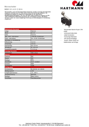 Hartmann Microswitch 250 Vac 5 A 1 x On/(On) MBB1 01 A 01 C 09 A momentary 1 pc(s) 62-263100008 Data Sheet