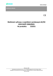 Kyoritsu KEW MATE2001 Digital-Multimeter, DMM, KEW MATE2001 Data Sheet