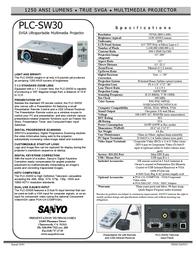 Sanyo PLC-SW30 PLCSW30 Leaflet