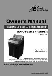 Royal Sovereign AFS-800 User Manual