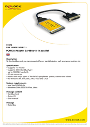 DeLOCK PCMCIA-Adapter CardBus to 1x parallel 61612 Leaflet
