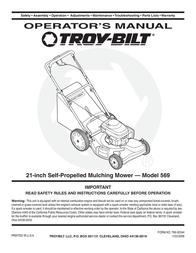 Troy-Bilt 569 User Manual