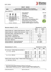 Diotec N/A BC 337/25 NPN Case type TO 92 I(C) 1 A BC337-25 Data Sheet