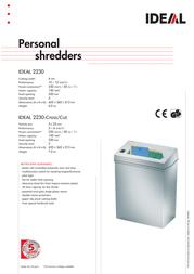Ideal Personal shredder IDEAL 2230-Cross/Cut 22309111 Leaflet