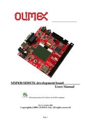 Olimex Starterkit development board with NOKIA3310 graphics LCD, RS232, USB, AUDIO, SD-MMC CARD, Joystick MSP430-5438STK MSP430-5438STK User Manual