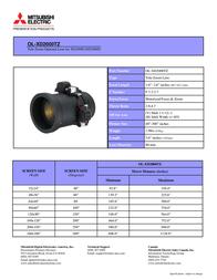 Mitsubishi Electric Tele Throw Zoom Lens 2.9-4.7 OL-XD2000TZ Leaflet