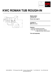 KWC Roman Tub Rough-In Z.535.391.931 Leaflet
