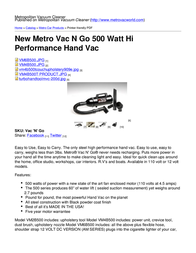 Metropolitan Vacuum Cleaner Company Vac 'N' Go VM4B500 User Manual