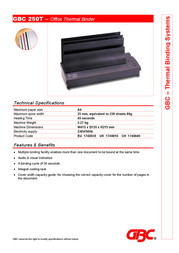 GBC Desktop Thermal Binding Machine 1740030 Leaflet